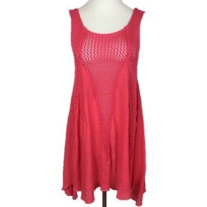India Boutique Pink Crochet Open Knit Tunic Top OS